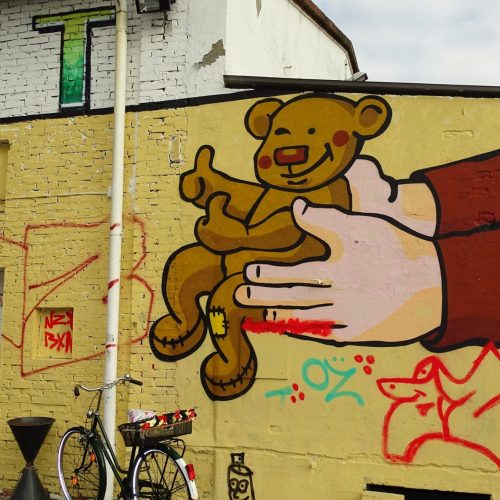 Graffiti an der Außenfassade des Verschenkmarkt Oldenburg