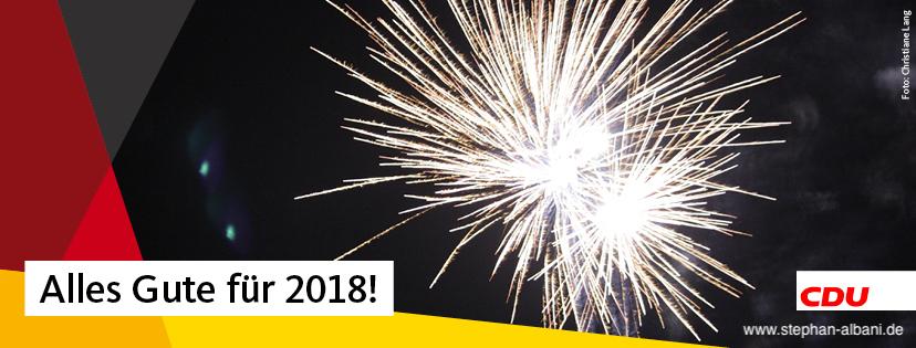 Ein SIlvestermotiv mit dem Neujahrsgruss: Alles Gute für 2018!