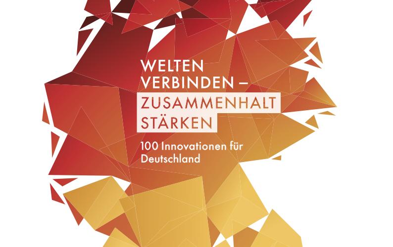 """Plakat des Wettbewerbs. Zu sehen ist eine stilisierte Karte Deutschlands mit dem Wettbewerbstitel """"Welten verbinden - Zusammenhalt stärken!""""."""