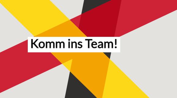 "Themenbild mit dem Schriftzug ""Komm ins Team!"""